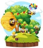 Parkszene mit dem Bienenfliegen stock abbildung