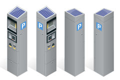 Parkuhr, Zahlung durch Handy, Kreditkarten, Münzen erlaubend Infographic-Geschäftselemente Flaches 3d isometrisch Lizenzfreies Stockfoto