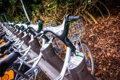Parkujący jawni bicykle które są częścią wynajmowanie system w Szwecja obrazy stock