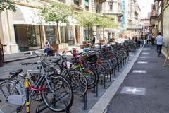 Parkuję niektóre bicykle Obraz Stock