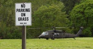 Parkverbot auf Gras-Hubschrauber stockfotos