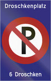 Parkverbot Droschkenplatz 1953. Old design (1953) of a German Parkverbot/no parking sign. The text says Droschkenplatz/cab space and 6 Droschken/6 cabs Royalty Free Stock Image