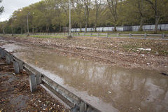 Parkway flooded by Hurricane Sandy, Manhattan. Aftermath of Hurricane Sandy, New York City Royalty Free Stock Photo