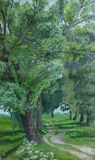 Parkway of Poplars oil painting. Original artwork of painting Parkway of Poplars with the road and porlars trees on both sides Stock Photo