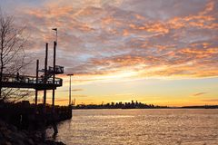 Parkzonsondergang het Noord- van Vancouver Harbourview Royalty-vrije Stock Afbeeldingen