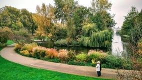 Parläsningöversikt i St James Park utanför Buckingham Palace arkivbilder