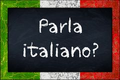 Parla italiano blackboard with italy flag frame Royalty Free Stock Images