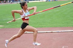 Parlak Demet from Turkey competes in pole vault Royalty Free Stock Images
