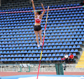 Parlak Demet from Turkey competes in pole vault Stock Photography