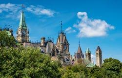 Parlamentów budynki i pokoju wierza - boczny widok zdjęcie stock