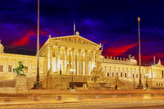 Parlament of Austria, in central of Vienna. Stock Image