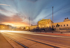 Parlament of Austria during sunset. Vienna. stock image