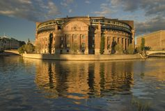 Parlament building, Stockholm. Parlament building in Stockholm in sunset light Stock Photo