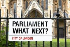 Parlament, co następnie? Londyński znak uliczny zdjęcie stock