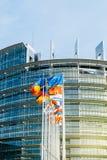 Parlament Europejski flaga przed głównym budynkiem Obraz Stock