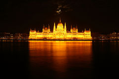 Parlament at night in Budapest Stock Images