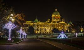 Parlament republiki Serbia nowego roku dekoracja zdjęcie stock