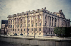 Parlament of Sweden. Old building in the old part of the town Stockholm, called Gamla stan or Old town Royalty Free Stock Images