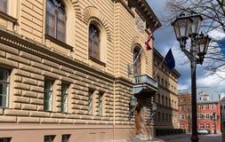 Parlament von Lettland-Gebäude, Jekaba-Straße, alte Stadt Riga Stockfotos
