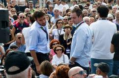 Parlamentary Alessandro di Battista  and Daniele del Grosso from Movimento 5 Stelle in a public event in Rome Stock Photo