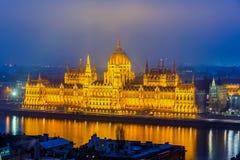 Parlamentbyggnad i Budapest Arkivfoto