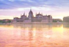 Parlamentbyggnad i Budapest, Ungern Royaltyfri Fotografi