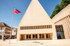 Parlamentbyggnad i den Vaduz staden Arkivfoto