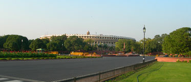 Parlamentbyggnadskomplex i New Delhi, Indien Royaltyfri Foto