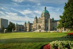 Parlamentbyggnadsmorgon, Victoria, British Columbia fotografering för bildbyråer