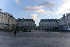 Parlamentfyrkant Rennes Frankrike royaltyfri fotografi