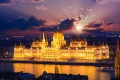 Parlamentgränsmärke i Budapest, Ungern Royaltyfria Foton
