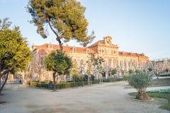 Parlamento在Ciutadella的de CataluA±aa或加泰罗尼亚的议会在巴塞罗那,西班牙停放 图库摄影