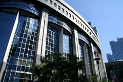 Parlamento Europeo a Bruxelles Fotografia Stock Libera da Diritti