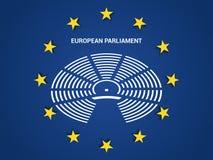 Parlamento Europeo nella bandiera di Unione Europea dell'Unione Europea illustrazione di stock