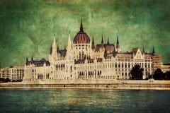 Parlamento ungherese a Budapest, Ungheria. Retro fotografie stock libere da diritti