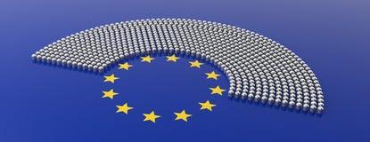 Parlamentplatser för europeisk union och gul stjärnacirkel på blå bakgrund illustration 3d royaltyfri illustrationer