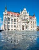 Parlamentsgebäude in Budapest, Ungarn, afer Regen Lizenzfreies Stockbild
