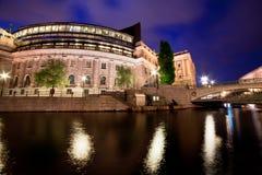 Parlamentsgebäude in Stockholm, Schweden nachts Lizenzfreies Stockbild