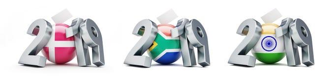 Parlamentsval i Danmark, Sydafrika, Indien på en vit illustration för bakgrund 3D, tolkning 3D royaltyfri illustrationer