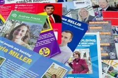 Parlamentswahlbroschüren, Großbritannien 2015 Lizenzfreies Stockfoto