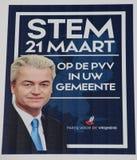 Parlamentswahlplakat der weit rechten Partei PVV von Geert Wilders lizenzfreies stockbild