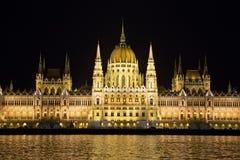 Parlamentu budynek przy nocą, Budapest Zdjęcia Royalty Free