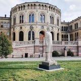 Parlamentu budynek, Storting budynek, Karl Johans brama, OSLO, NORWEGIA obraz stock