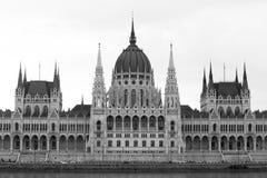 Parlamentu budynku monochrom, Budapest Zdjęcie Stock