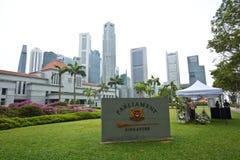 Parlamentu dom dokąd ciało poprzedni pierwszorzędny minister Singapur Lee Kuan Yew, kłaść w stanie Zdjęcie Stock
