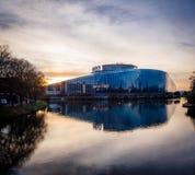 Parlamentu Europejskiego budynek w Strasburg przy półmrokiem Fotografia Royalty Free