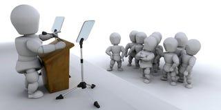 Parlando ad una folla Immagine Stock