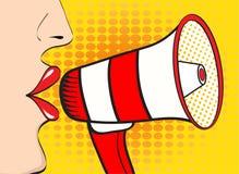 Parlare sexy della bocca e del megafono della donna di Pop art Backgrou di vettore royalty illustrazione gratis