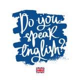 Parlate inglese? Calligrafia alla moda Immagine Stock Libera da Diritti