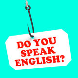 Parlate inglese? Sui mezzi del gancio stranieri Fotografia Stock